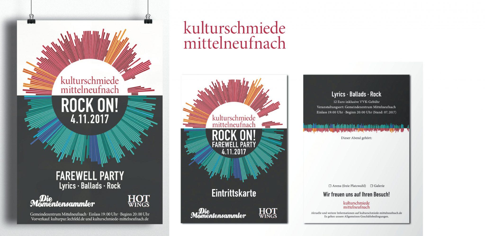 Kulturschmiede Mittelneufnach Corporate Design und Veranstaltungsplakat und - Eintrittskarte